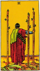 Card One   Three of Wands - Optimism