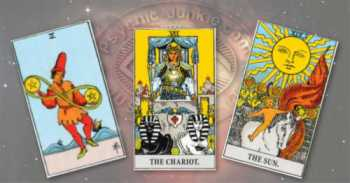 Two of Pentacles, the Chariot, and the Sun.
