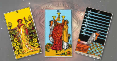 Nine of Pentacles, Three of Cups, and Nine of Swords.