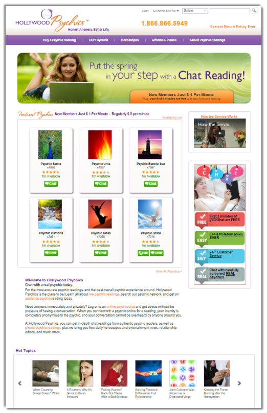 Hollywood Psychics Website
