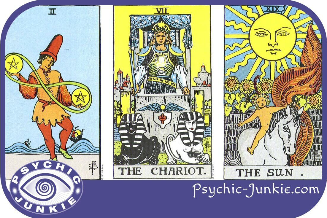 Two of Pentacles, the Chariot, and the Sun